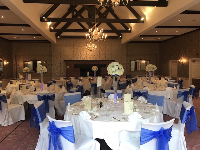 Tylney Hall centrepieces and chair covers