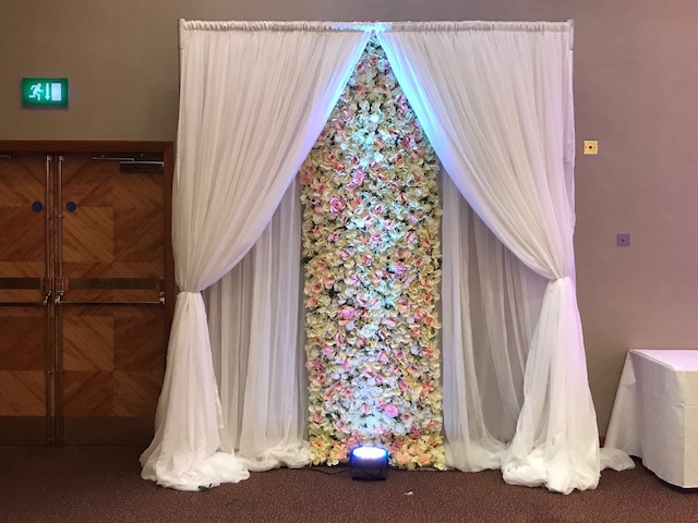 Royal Chace Hotel Draped Flower Wall