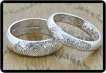 White Gold Fingerprint Wedding Rings