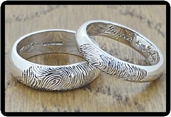 White Gold Fingerprint Wedding Rings