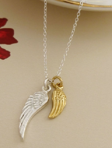 Rowan angel wing silver necklace pendant from Guilty