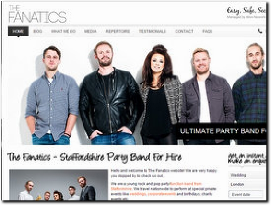 http://www.thefanaticsband.co.uk website