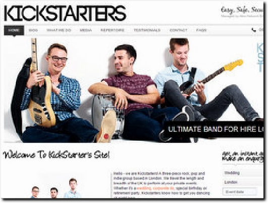 http://www.kickstartersband.co.uk website