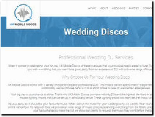 https://www.ukmobilediscos.co.uk/weddings website