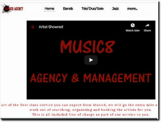 http://www.music8agency.co.uk website