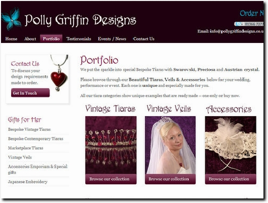 http://www.pollygriffindesigns.co.uk/handmade-tiaras-and-veils-portfolio website